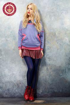 Womens Retro Loose Round Neck Sweatshirts