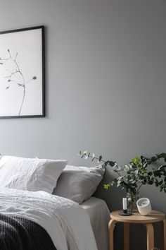 Bedside, linen bedding, Scandinavian style, grey bedroom wall, eucalyptus. Styling and photography Anu Tammiste