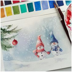 Love the water color Snowman Christmas Sketch, Watercolor Christmas Cards, Christmas Drawing, Christmas Paintings, Christmas Art, Watercolor Art Diy, Watercolor Sketch, Watercolor Illustration, Watercolor Flowers