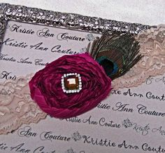 Champagne Lace Bridal Garters with Fuchsia Chiffon Rose and Peacock Feather - Handmade Lace Bridal Garters with Vintage Flair