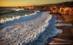Morze, Fale, Brzeg, Klif