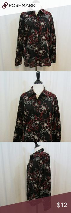 "Westbound Black White Red Embroidered Floral Top Brand: Westbound Size: 18 Material: 100% Cotton Care Instructions: Machine Wash  Bust:  44"" Sleeves: 24 1/2"" Length: 25""  All clothes are in excellent used condition. No tears, stains or holes unless otherwise I noted.   P78 Westbound Tops Blouses"