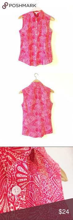 ✨NWOT✨ BROOKS BROS Sleeveless Blouse, Floral Print ✨NWOT✨ BROOKS BROTHER LIBERTY ART FABRICS. Lightweight, relaxed beach chic. Sophisticated twist on a tank top. Great for layering under sweaters & jackets, or leave open over a cute cami. Rich, dark pink/red floral nautical print with flowers & seashells on bright white background. Excellent condition. NWOT. Fits small size. Brooks Brothers Tops Button Down Shirts