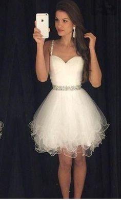white tulle short cheap short homecoming dress, BD39763