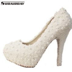 9845820ca6 Sweet White Flower Lace Platform High Heels Pearls Wedding Shoes Bride  Dress Shoes Dress And Heels