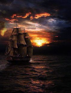 Pirate Sailing Ship at Sunset gaming games images pictures screenshots GameScapes GamingShot concept digital art VistaLore daily pics beauty imagination Fantasy Tall Ships, Bateau Pirate, Old Sailing Ships, Sail Away, Pirates Of The Caribbean, Belle Photo, Lighthouse, Scenery, Pirate Ships