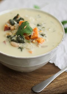 Coconut Sweet Potato Quinoa Stew with white beans and spinach #vegan