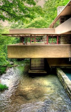 Fallingwater, Frank Lloyd Wright (commissioned in 1935, completed in 1937).