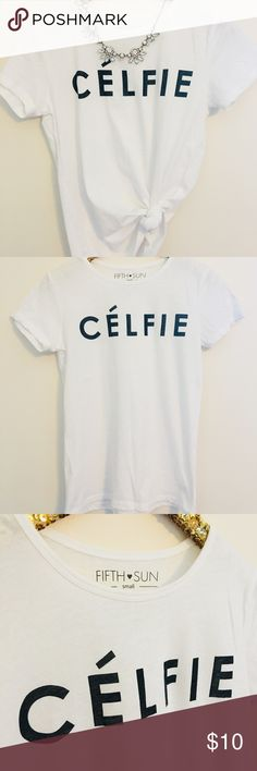 Celfie White T-shirt Fun black & white graphic tee for the fashion obsessed! Gently worn with next to no sign of wear. Size S. Perfect for pairing with your favorite blue jeans and sneakers or something a little fancier for date night with the boy Fifth Sun Tops Tees - Short Sleeve