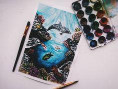 #Акварель #подводный #мир #дельфин #рыба