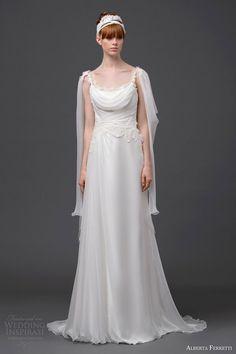 alberta ferretti bridal 2015 wedding dress diadema front view cape