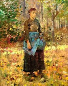 Theodore Robinson - The Blue Apron, 1888. Oil on canvas, 16 x 12¾ in. (40.6 x 32.4 cm.).