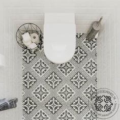 Encaustica Juliette x Porcelain Tile. This gorgeous encaustic tile is bold and classy with its achromatic tones. Light Fixtures Bathroom Vanity, Bathroom Floor Tiles, Bathroom Toilets, Laundry In Bathroom, Toilet Tiles, Bathroom Interior, Modern Bathroom, Small Bathroom, Tiny Half Bath
