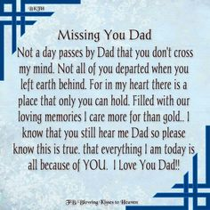 Dad I miss u I love u and I need u Rip Daddy, Daddy I Miss You, Love You Dad, Dad Poems, Daddy Quotes, Father Daughter Quotes, Grief Poems, Family Quotes, Dad In Heaven Quotes