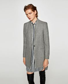 Image 2 of WOOL FROCK COAT WITH DOUBLE LAPEL COLLAR from Zara