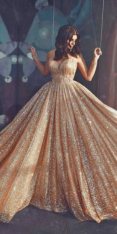 15 Gold Wedding Gowns For Bride Who Wants To Shine ❤️ gold wedding gowns princess sweetheart strapless neckline sequins saidmhamadofficial princess wedding dresses sweetheart strapless neckline detached sleeves full lace Silver Wedding Gowns, Rose Gold Wedding Dress, Princess Wedding Dresses, Best Wedding Dresses, Wedding Bride, Gown Wedding, Rose Gold Gown, Lace Wedding, Wedding Cakes