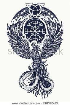 Magic heat birds tattoo and t-shirt celtic design. Magic heat birds tattoo and t-shirt celtic design. Symbol of revival, regeneration, life and death. Buddha Tattoos, Body Art Tattoos, Tattoo Drawings, Sleeve Tattoos, Feather Tattoos, Tatoos, Norse Tattoo, Celtic Tattoos, Viking Tattoos