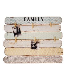 This 'Family' Picture Board is perfect! #zulilyfinds - hack your own with old wood and paint/fabric.  Also love this idea (but smaller) for the laundry for missing socks :)