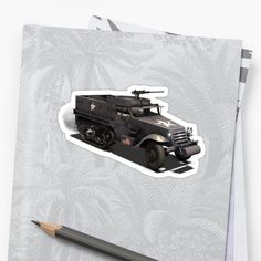 The M3 half-track was an American armored personnel carrier half-track widely used by the Allies during World War II and in the Cold War. Derived from the M2 half-track car, the M3 was extensively produced, with about 15,000 standard M3s and more than 38,000 variant units manufactured. • Millions of unique designs by independent artists. Find your thing. Transparent Stickers, Cold War, World War Ii, Finding Yourself, Track, The Unit, Artists, American