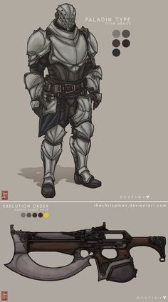 Fan-made Concept Art: Paladin Type Titan Armor, Execution Order Exotic Scout Rifle
