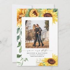 Sunflower Watercolor Modern Photo Save The Date - Are you using sunflowers in your bouquet or in your centerpiece decorations? Then you will love these modern watercolor sunflower save the date cards! The card features a watercolor sunflower cascade on the left and a photo in the center. These are great for your country weddings, fall weddings, rustic weddings, and anyone who absolutely loves sunflowers.