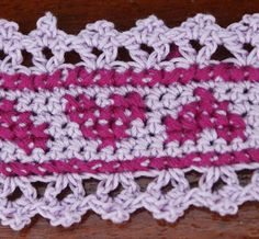 Crocheted Edging With Cross Stitched Hearts