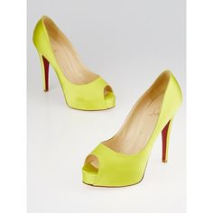 Pre-owned Christian Louboutin Lime Green Satin Very Prive Platform... ($195) ❤ liked on Polyvore featuring shoes, pumps, satin pumps, red sole shoes, peep-toe pumps, peep toe platform pumps and platform shoes