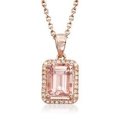We're blushing over this 1.50 carat morganite and .14 ct. t.w. diamond necklace in 14kt rose gold over sterling silver. Thirty sparkling diamond rounds frame a pretty emerald-cut morganite. Pendant suspends from a cable chain. Lobster clasp, 14kt rose gold over sterling silver necklace. Free shipping & easy 30-day returns. Fabulous jewelry. Great prices. Since 1952.