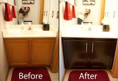 Home Staging Tips  Stain old cabinets instead of replacing them.  Old cabinets can be a big turnoff to potential buyers. Instead of paying big bucks to replace them, just stain them. First, apply the stain in even strokes, going with the grain of the wood. Add some stylish hardware, and your cabinets will have the up-to-date look that buyers love, for less than $200.
