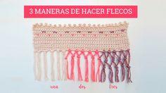 Cómo hacer flecos | 3 maneras diferentes Crochet Borders, Crochet Stitches, Crochet Top, Crochet Scarves, Crochet Hats, Soft Towels, Macrame Art, Flamenco Dancers, Dressmaking