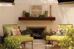 love the mantle, chair cushions & pillows.