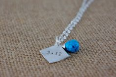 Personalized Sobriety Date Necklace with Beautiful Blue Magnesite Briolette. Sterling Silver Filled Charm and Components. Pinned by the You Are Linked to Resources for Families of People with Substance Use  Disorder cell phone / tablet app February 7, 2015;      Android https://play.google.com/store/apps/details?id=com.thousandcodes.urlinked.lite   iPhone -  https://itunes.apple.com/us/app/you-are-linked-to-resources/id743245884?mt=8com