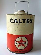 Vintage Caltex Tin 1 Gallon Kerosine Petrol Oil Can