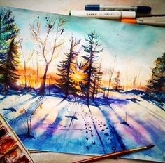 Pretty watercolor landscape painting of winter snow sunset. Watercolor Landscape, Watercolor Paintings, Painting Inspiration, Art Inspo, Arte Emo, Art Graphique, Claude Monet, Pretty Art, Oeuvre D'art