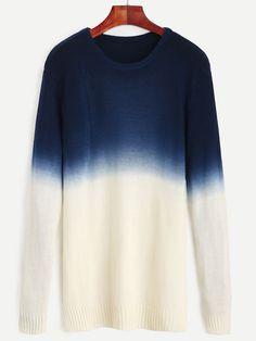 Jersey sombreado con abertura lateral - azul marino-Spanish SheIn(Sheinside)