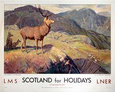 Scotland For Holidays,Deer Stalking in the Highlands, Scottish Railway Travel Art Poster Print, LMS Retro Poster, A4 Poster, Poster Prints, Posters Uk, Train Posters, Poster Wall, Deer Stalking, Vikings, Nostalgia