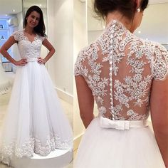 Tulle Wedding Dress,White Bridal Dress,Lace Appliques Wedding Gown by fancygirldress, $225.00 USD