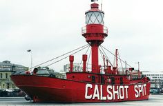 Calshot Spit lightship, now an attraction at Ocean Village marina, Southampton