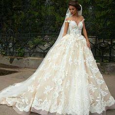 Champagne Plus Size Ball Gown Wedding Dress 2016 Lace Off Shoulder Bridal Gowns Vestido De Noiva