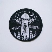 Wish   DIY Embroidery UFO Alien Flying Saucer Sew Iron On Patch Badge Bag Hat Applique