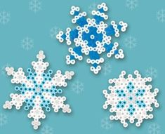 Winter Snowflakes Crafts Using Hama Beads. Hama Beads Design, Diy Perler Beads, Perler Bead Art, Melty Bead Patterns, Pearler Bead Patterns, Beading Patterns, Beading Tutorials, Bracelet Patterns, Embroidery Patterns