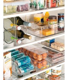 Ahh...this is a thing of beauty, isn't it?! The best place to find refrigerator organizers is at TJ Max. They usually have a large variety and great prices! Two of my favorites that save lots of space are: the egg bin (because I buy the extra large cartons of eggs at Costco I keep the big carton in my garage fridge and re-fill the egg bin in my kitchen ) and the soda dispenser (for the same reason...big 24 case in the outside fridge and re-fill as needed in the kitchen refrigerator)…