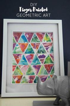 DIY Toddler Finger Painting Geometric Art