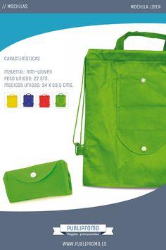 7594f53e1 Mochilas saco plegables modelo Liber. Un modelo ideal para guardar en  espacios reducidos y disponible