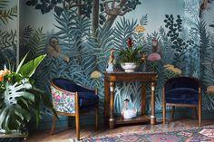 'Rousseau' design in full custom design colours on Mare Verde scenic paper.