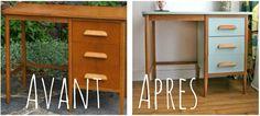 Bureau vintage restauré sur www.retourdechine.fr