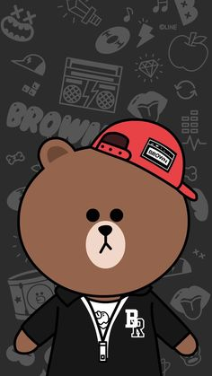 omg i add some line friends in this board. Brown Wallpaper, Bear Wallpaper, Kawaii Wallpaper, Wallpaper Iphone Cute, Cellphone Wallpaper, Line Brown Bear, Brown Line, Friends Wallpaper, Couple Wallpaper
