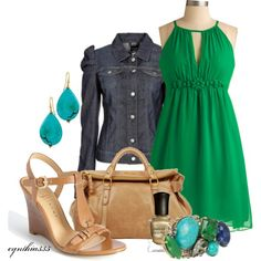 """""""Clover"""" by cynthia335 on Polyvore love the jean jacket over a summer dress!"""