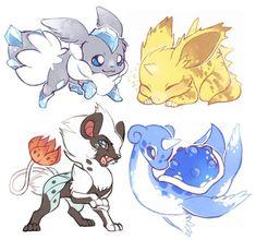 1. Eevee + Carbink 2. Nidoran + Electabuzz 3. Luxray + Volcarona  4. Lapras + Dragonair #pokemonfusion