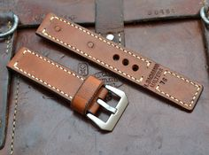Handmade Vintage Swiss Ammo Leather Watch Strap 24 by MySunnyStore